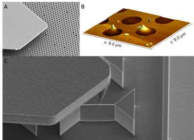 Fig. 3: Combination of SEM and AFM on isolated graphene membranes and nano wires