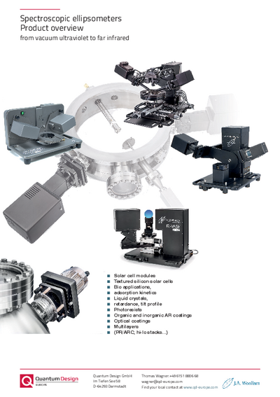 Spectroscopic ellipsometers - product overview