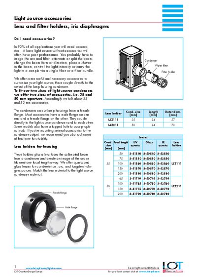 Lens and filter holders, iris diaphragms - Data sheet