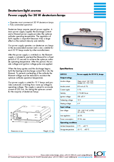 Power supply for 30 W deuterium lamps - Data sheet