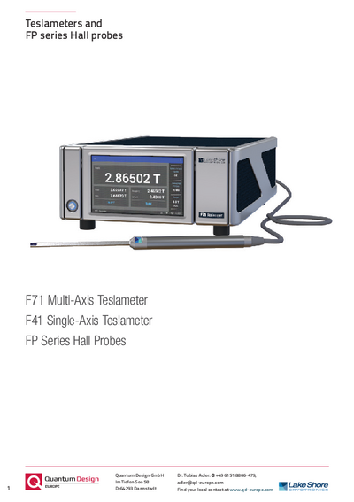 Teslameters and FP series hall probes