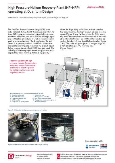Application Note High pressure recovery plant