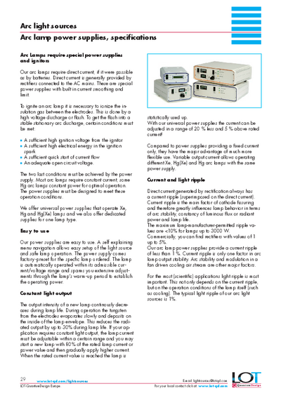 Arc lamp power supplies, specifications - Data sheet