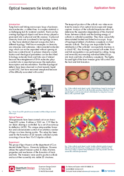 Optical tweezers tie knots - Application Note