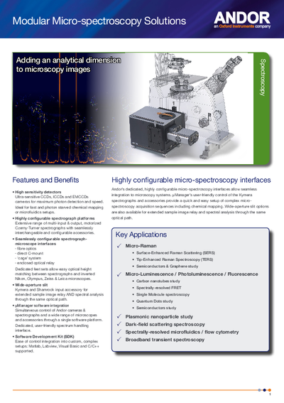 Modular Micro-spectroscopy solutions specification sheet