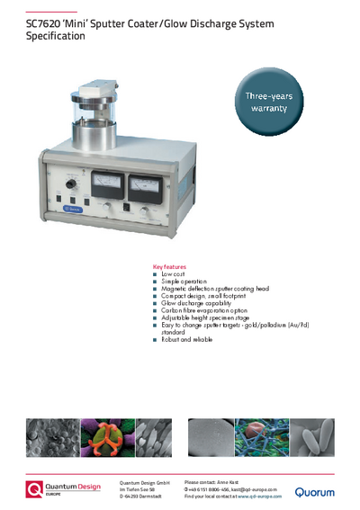 Sputter coater SC7620 Mini specification