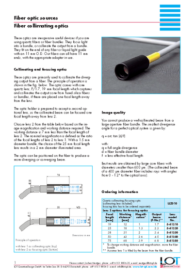 Fiber collimating optics - Data sheet