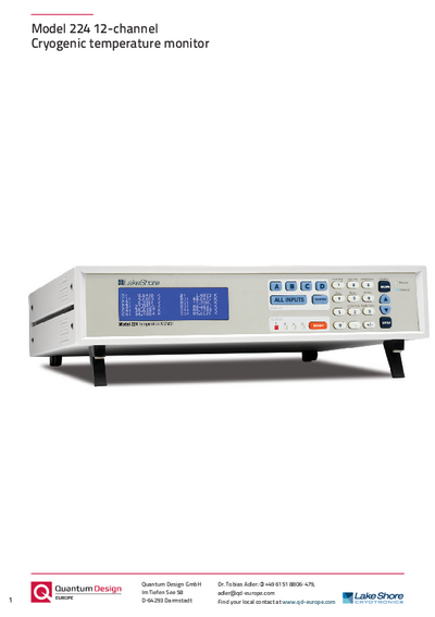 224 twelve channel cryogenic temperature monitor