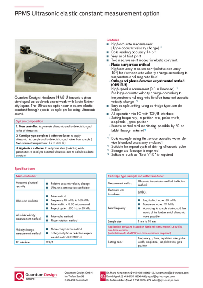 PPMS ultrasonic eleastic constant measurement option