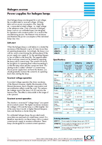 Power supplies for halogen lamps - Data sheet
