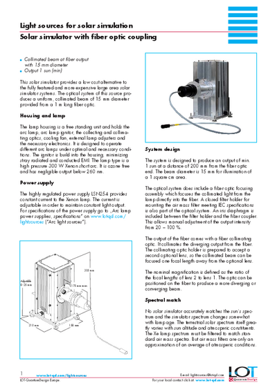 Solar simulator with fiber optic coupling - Data sheet