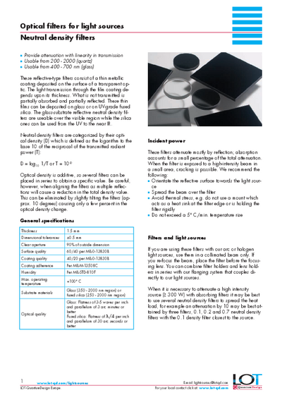 Neutral density filters - Data sheet