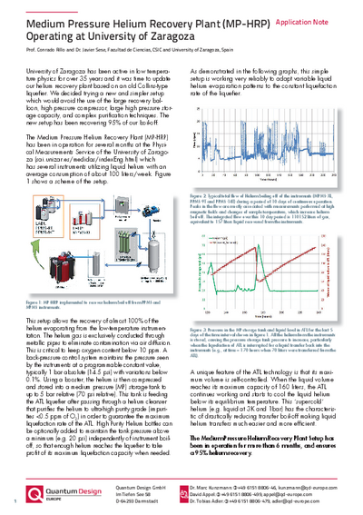 Application Note: Medium pressure recovery plant recovery